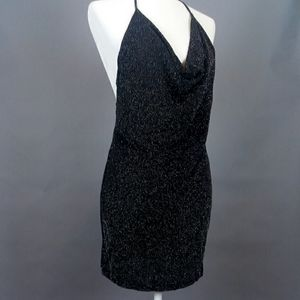 NEW! Sparkly Cowl Neck Dress with Low Back